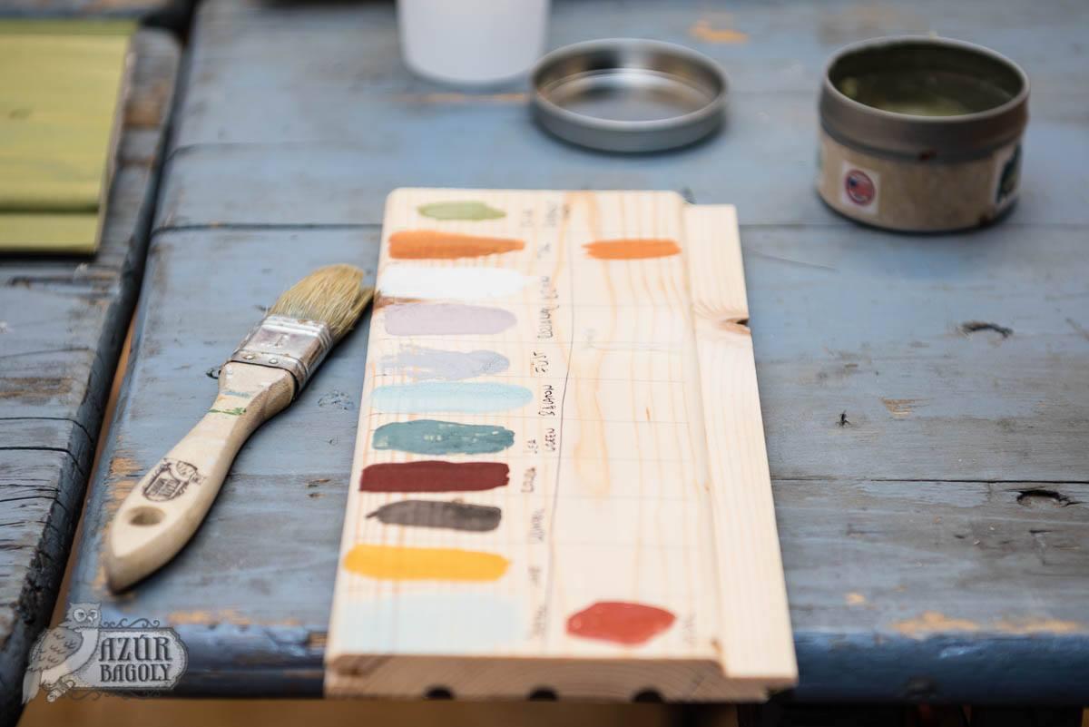 tejfesték-színminta sajátkezűleg festve a bútorfestés-tanfolyamon